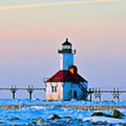 Lighthouse On Ice Art Print