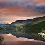 Llyn Nantlle At Sunrise Looking Towards Mist Shrouded Mount Snow Art Print by Matthew Gibson