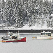 Lobster Boats After Snowstorm In Tenants Harbor Maine Art Print by Keith Webber Jr