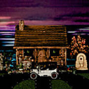 Log Cabin Scene At Sunset With The Old Vintage Classic 1913 Buick Model 25 Art Print