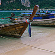 Longtail Boats Moored On The Beach Art Print