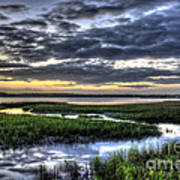 Cloud Reflections Over The Marsh Art Print
