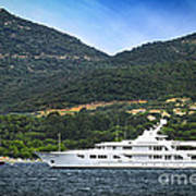 Luxury Yacht At The Coast Of French Riviera Art Print