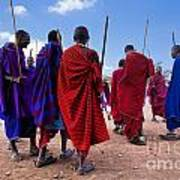 Maasai Men In Their Ritual Dance In Their Village In Tanzania Art Print