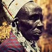 Maasai Old Woman Portrait In Tanzania Art Print