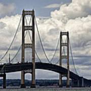 Mackinaw Bridge By The Straits Of Mackinac Art Print