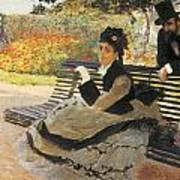 Madame Monet On A Garden Bench Art Print by Claude Monet
