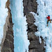 Man Ice Climbing In Ceresole Reale Ice Art Print