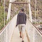 Man On Alexandra Suspension Bridge In Tasmania Art Print