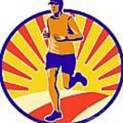 Marathon Runner Athlete Running Art Print by Aloysius Patrimonio