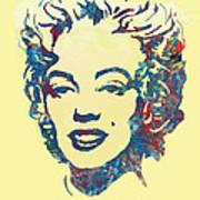 Marilyn Monroe Stylised Pop Art Drawing Sketch Poster Art Print by Kim Wang