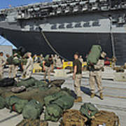 Marines Move Gear During An Embarkation Print by Stocktrek Images