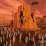 Martians Gathering Around A Monument Art Print