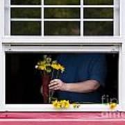 Mature Woman Cutting Flowers In Window Art Print