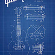 Mccarty Gibson Stringed Instrument Patent Drawing From 1969 - Bl Art Print