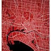 Melbourne Street Map - Melbourne Australia Road Map Art On Color Art Print