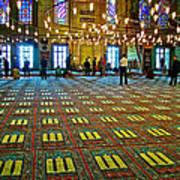 Men Inside The Blue Mosque In Istanbul-turkey Art Print