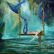 Mermaids Lazy Lagoon Art Print