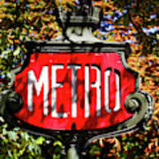 Metro Sign, Paris, France Art Print