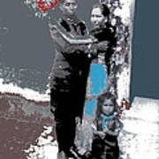 Mexican Soldier With Wife And Child Unknown Location 1915-1920-2014  Art Print