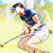 Michelle Wie Reacts After Missing A Putt On The 15th Hole Art Print