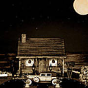 Miniature Log Cabin Scene With Old Vintage Classic 1930 Packard Labaron In Sepia Color Art Print