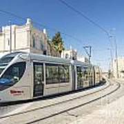 Modern Tram In Central Jerusalem Israel Art Print