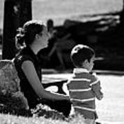 Mom And Son In The Park Art Print