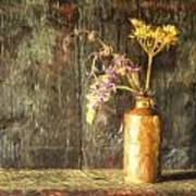 Monet Style Digital Painting Retro Style Still Life Of Dried Flowers In Vase Against Worn Woo Art Print