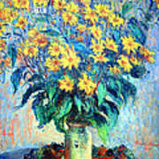 Monet's Jerusalem  Artichoke Flowers Art Print