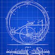 Monocycle Patent 1894 - Blue Art Print