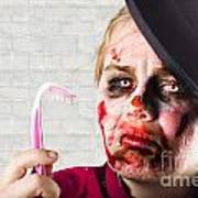Monster Holding Sad Toothbrush. Rotting Teeth Art Print