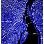 Montreal Street Map - Montreal Canada Road Map Art On Colored Ba Art Print
