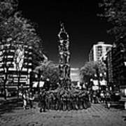 Monument To The Castellers On Rambla Nova Avenue In Central Tarragona Catalonia Spain Art Print