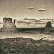 Monument Valley Aged Black And White Art Print