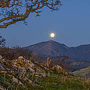 Moon Over Mt Diablo Art Print