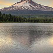 Mount Hood At Trillium Lake Sunset Art Print