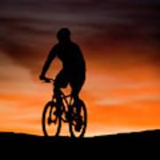 Mountain Biker At Sunset, Moab, Utah Art Print