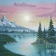 Mountain Lake Painting A La Bob Ross 1 Print by Bruno Santoro