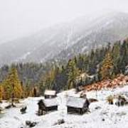 Mountain With Snow Art Print
