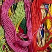 Multicolored Embroidery Thread Mixed Up  Art Print