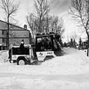 municipal city mini tractor clearing sidewalks and roads in Saskatoon Saskatchewan Canada Art Print by Joe Fox