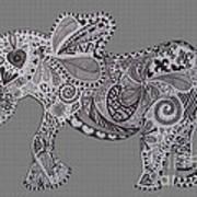 Nelly The Elephant Grey Art Print