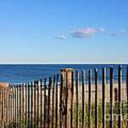 New England Beach Past A Fence Art Print