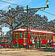 New Orleans Streetcar Painted Art Print