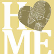 New York Map Home Heart - New York City New Yorkroad Map In A He Art Print