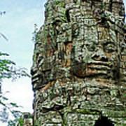 North Gate Of Angkor Thom In Angkor Wat Archeological Park-cambodia Art Print
