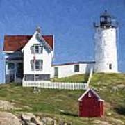 Nubble Lighthouse Maine Painterly Effect Art Print