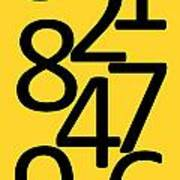 Numbers In Black And Yellow Art Print