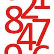 Numbers In Red And White Art Print